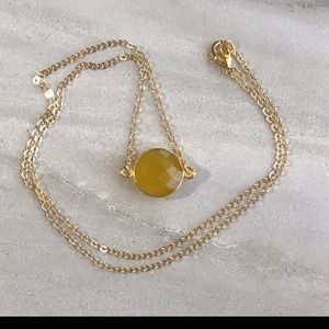 Yellow Chalcedony 18K Gold necklace